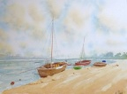Boats on the Sand  -  Watercolour